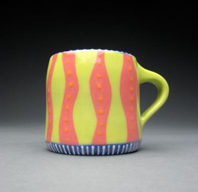 green & pink mug