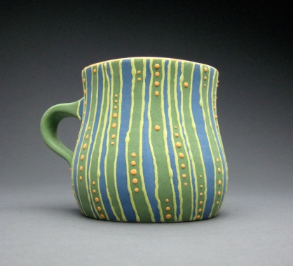 green striped mug