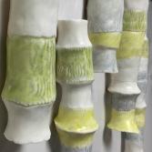 Undergaze pencil & Heino satin on sculptural work.