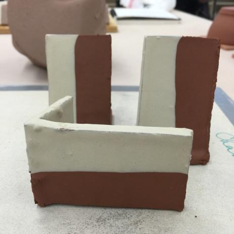 test tiles - terra cotta with slip.